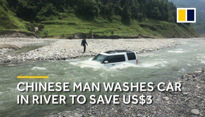 Metió su camioneta en el rio para ahorrar el dinero del lavado.